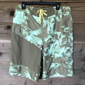 Under Armour Green Army Camo Unlined Shorts Sz 34